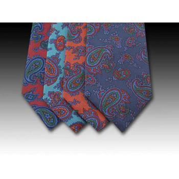 Bold Paisley Pattern Printed Silk Tie (B)