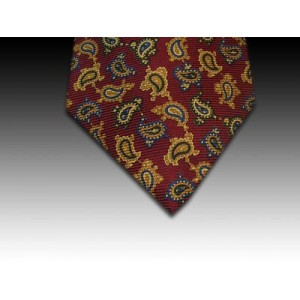 Small Burgundy Paisley Pattern Printed Silk Tie