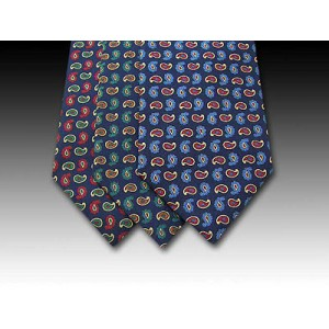 Small Paisley Design Printed Silk Tie
