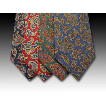 Classic Paisley Pattern Printed Silk Tie