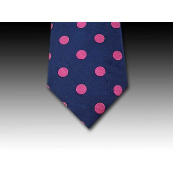 Large Pink Spot Design on Printed Silk Navy Tie