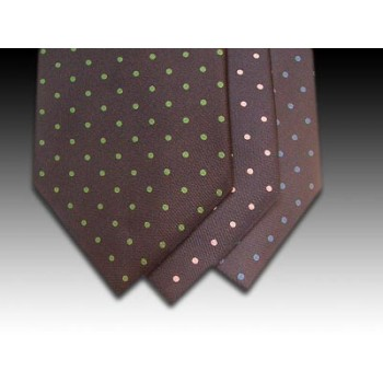 Small Spot Design on Navy Printed Silk Tie