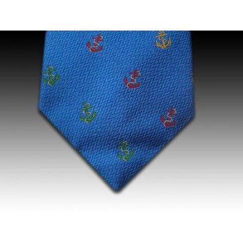 Anchor and Rope Woven Motif Silk Tie in Royal Blue
