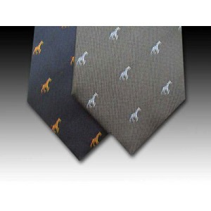 Running Giraffe Woven Silk Tie in Navy or Grey