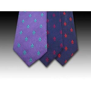 Classic Fleur des Lys Woven Silk Motif Tie (B)