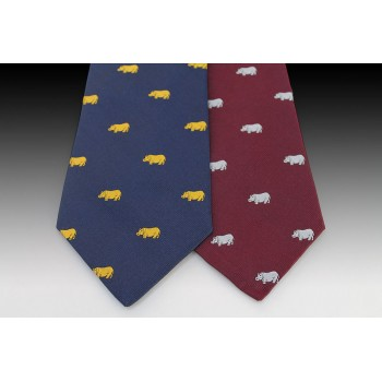 Hippo Design Woven Motif Tie in Navy