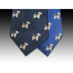Fox Terrier Dog Woven Motif Tie In Navy or Royal Blue