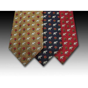 Wonderful Elephant and Flower Design on Woven Silk Tie