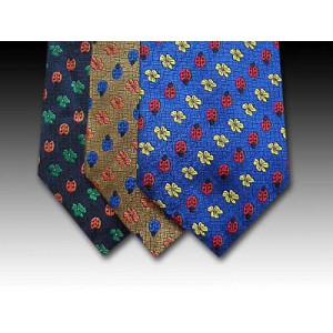 Classic Ladybird and flower design Woven Silk Tie