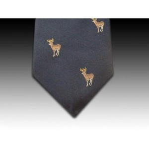 Young Stag Motif Woven Silk Tie in Navy