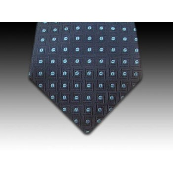 Navy Woven Silk Tie with Small Blue Coffee Bean Motif