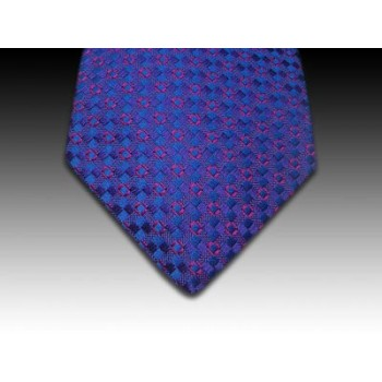 Royal Blue Woven silk Tie with Pink Square Motif
